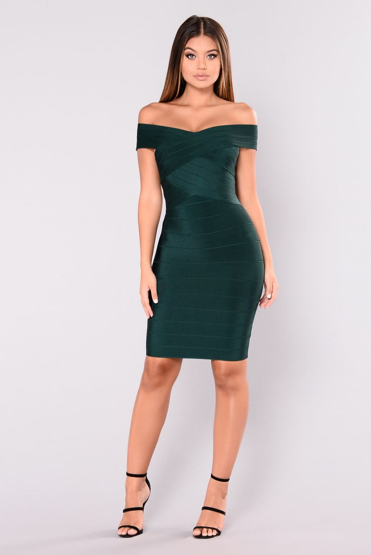 - Available in Burgundy, Black and Hunter Green - Bandage Dress - Off Shoulder - Back Zipper Closure - 90% Polyester 10% Spandex