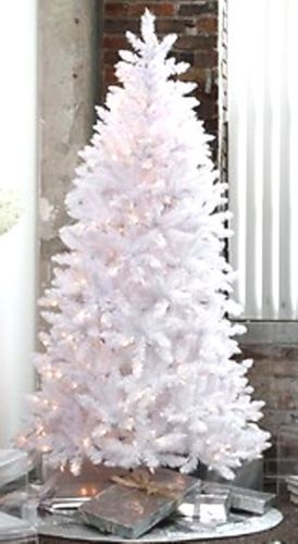 Pre-Lit-6-5-WHITE-Artificial-Christmas-Tree-Clear-Multi-Blue-lights
