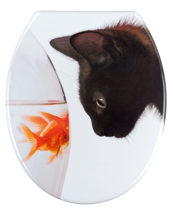 "Wenko ""Fish and Cat"" Toilet Seat, Multi-Colour: Amazon.co.uk: Kitchen & Home"