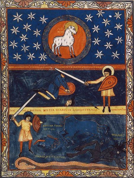 "Illumination from the ""Commentary on the Apocalypse', (""Commentaria in Apocalypsin'), by the Spanish theologist and monk Beatus of Liébana, also known as 'Beatus'. Wrtitten in 776, revised in 786. This work has been copied several times. Today 26 copies stil exist."