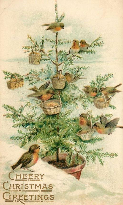 Новогодняя елка открытки винтаж