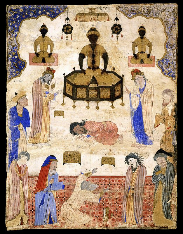"""برگی از فالنامه امام جعفر صادق(ع)،دیر مینا، احتمالاً تحت نظارت آقامیرک و عبد العزیز،1550 میلادی، قزوین Miniature from a copy of Jafar al-Sadiq's Fal-nama. """"Idolaters Before an Idol"""" Iran, Qasvin; c. 1550 Miniature: 57.7 × 43.8 cm"""