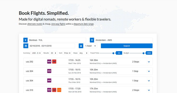 Discover alternate routes & cheap, one-way flights within a departure date range. Made for digital nomads, remote workers & flexible travelers.