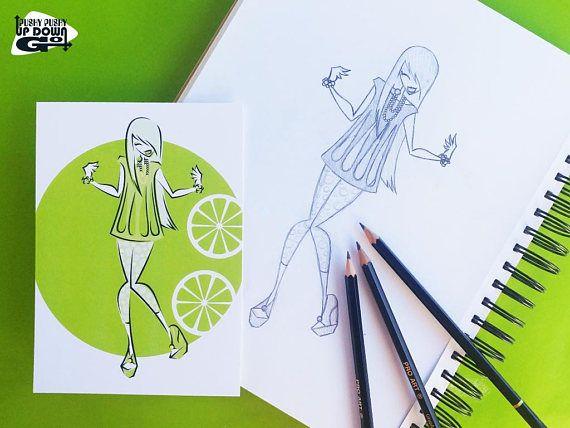 Harajuku Fruits Lime Fashion Illustration Art Print (5 x 7), Kawaii Lime Fashion Wall Art, Fashionis