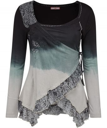 """Add a little edge to your look with this Divine Dip-Dye Top. With feminine touches like chiffon ruffles, intricate embroidery and lace details, this top is the perfect partner for our Rock And Roll Jeans. Approx Length: 70cm (at longest point) Our model is: 5'8"""""""