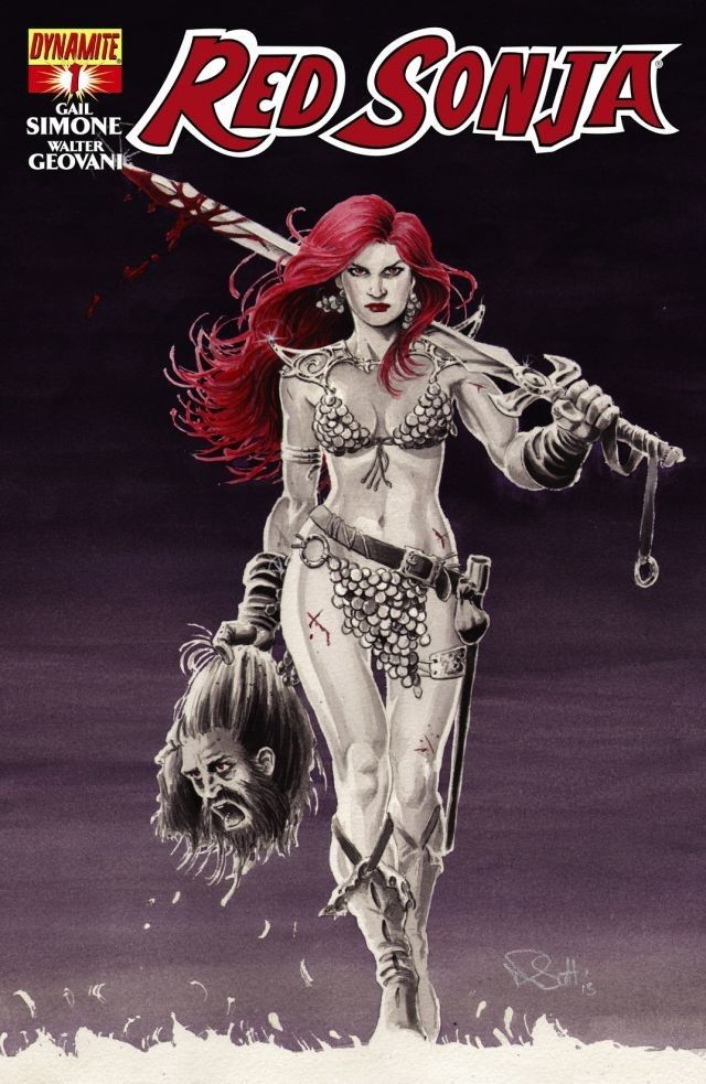 Red Sonja #1 THIS IS IT. Red Sonja gets a fresh new attitude by the dream team of writer GAIL SIMONE and artist WALTER GEOVANI on the book they were born to create. Sonja pays back a blood debt owed to the one man who has gained her respect, even if it means leading a doomed army to their certain deaths! This thrilling new series features covers by the top female artists in the industry, including Nicola Scott, Colleen Doran, Jenny Frison, Fiona Staples, Amanda Conner and more.