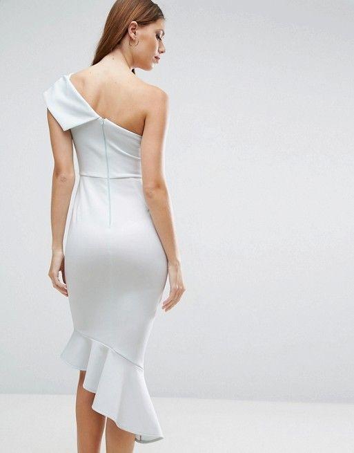 ASOS Scuba One Shoulder Peplum Midi Dress Discover Fashion Online