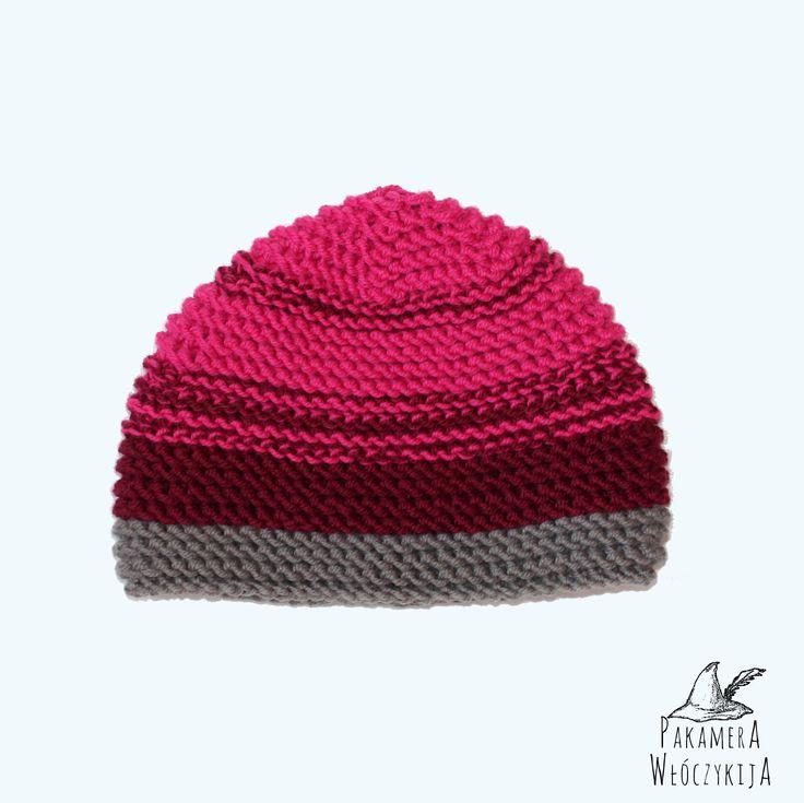 Różowo-bordowo-szara czapka ręcznie robiona!  http://pakamera.wix.com/pakamera-wloczykija#!rozanecznik-alpejski/c2ig