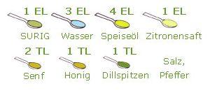 SURIG Essig-Essenz, Wasser und Honig mit dem Senf verrühren. Das Öl hinzugeben und alles zu einer cremigen Sauce verrühren. Die Dill-Spitzen und einen Spritzer Bio-CITROVIN dazugeben. Mit Salz und Pfeffer abschmecken. Unser Tipp: passt zu Friséesalat mit Lachs oder Feldsalat mit Äpfeln. 1 EL SURIG Essig-Essenz 3 EL Wasser 4 EL Speiseöl, z.B. Sonnenblumenöl 1...  Read more »