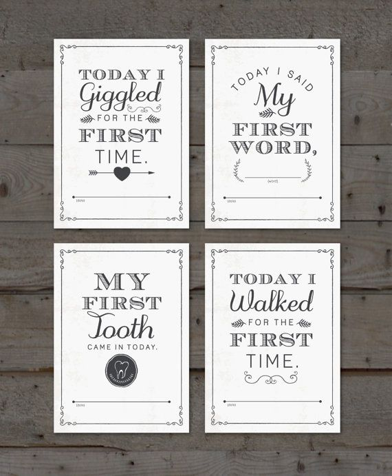 Printable Baby Milestone Card Set PLUS FREE by MarieCoutureDesigns