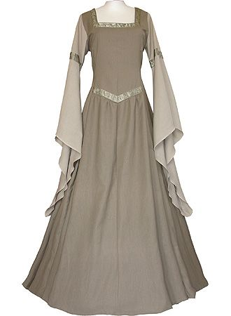Medieval Europe dress. I don't know if this is very realistic to the actual medieval clothing but I assume it is.