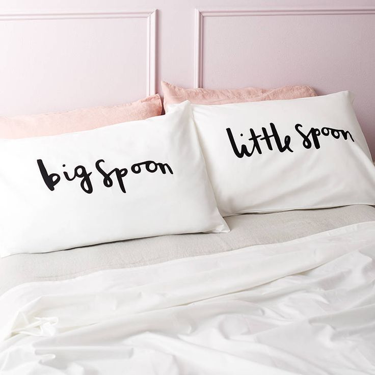 These simple and bold big spoon and little spoon pillow cases make a great wedding gift.This charming set of pillow cases have been lovingly illustrated and printed from our UK studio. The pillow case designs have been illustrated with the hand written typographic messages 'big spoon' and 'little spoon'. The unique pillow cases would look fantastic in any home. Simple and bold in design, they are sure to stand out in the bedroom.The pillow cases are white with the typographic illustration…