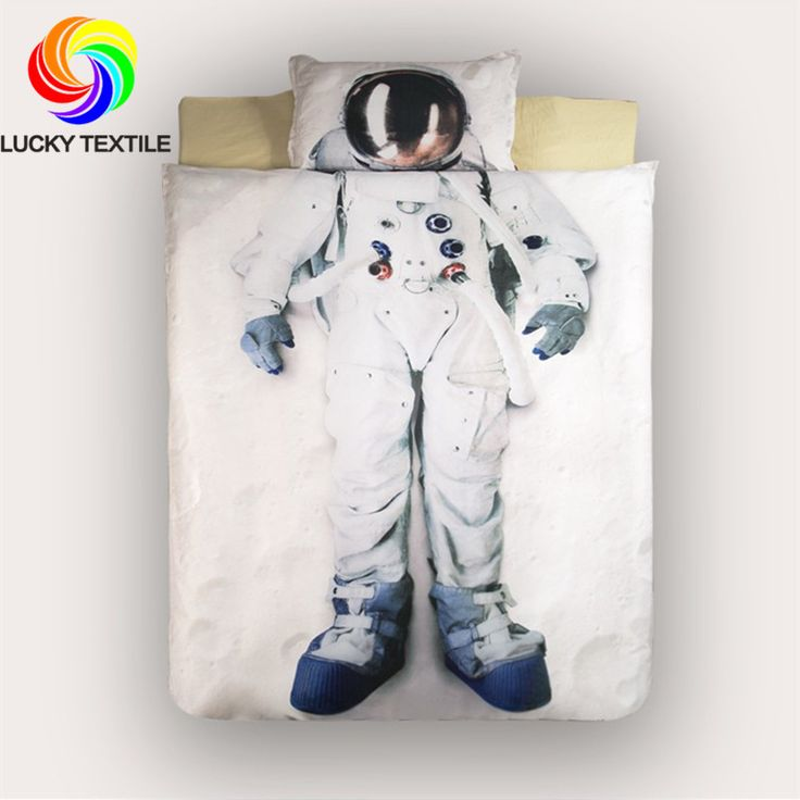 LUCKY TEXTILE Autumn 3D astronaut bedding set duvet cover bed sheet single modern bedding birthday new year gift for kids
