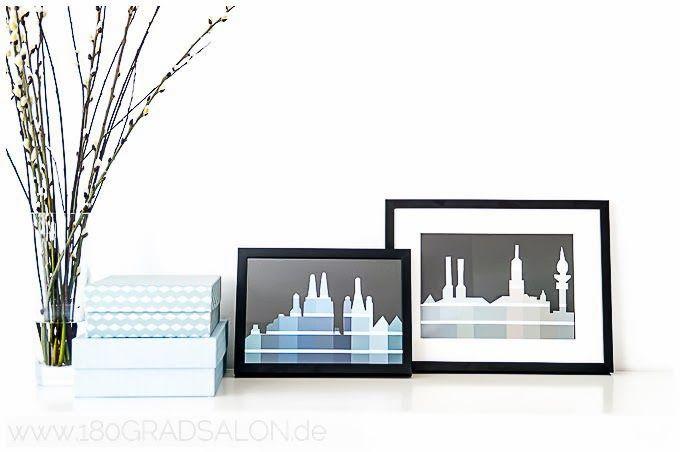 Skyline von Köln und Hamburg aus Farbkarten