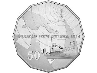 German New Guinea 50c colour printed coin. When war was declared in August 1914, Australians sprung to action to fight for the cause. One early order of business was to counter the German colony of New Guinea. Within weeks, volunteers rose to the challenge and successfully formed the Australian Naval and Military Expeditionary Force, which occupied the township of Rabaul on 11 September. #coincollecting