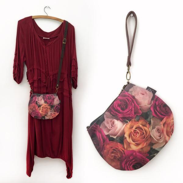 2-in-1 Crossbody / Clutch - Roses