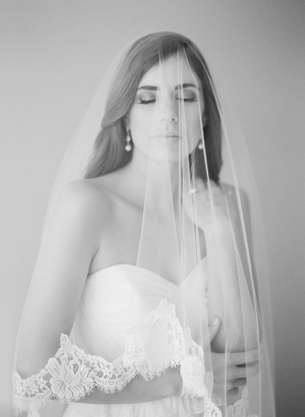 MARGUERITE | French lace chapel length veil with blusher