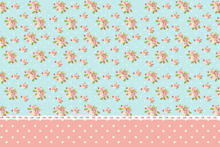 Moldura Convite e Cartão Convite Moldura e Cartão Floral Vintage Rosa e  Azul :