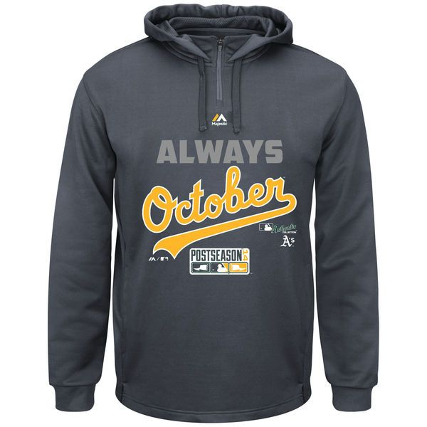 Oakland Athletics Majestic 2014 MLB Playoffs Always October Big & Tall Hoodie - Charcoal - $28.99