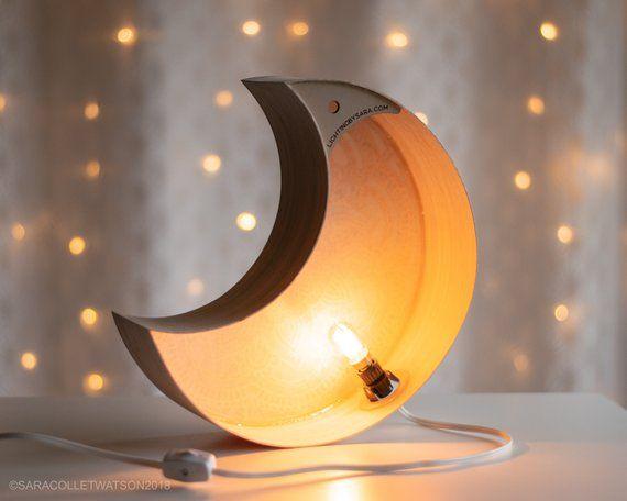 Limited Edition Mandala Moon Night Light Wooden Crescent Etsy Light Lamp Kids Room Lighting