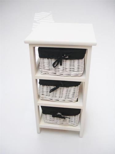white black narrow bedside table cabinet 3 chest of draws bathroom storage unit