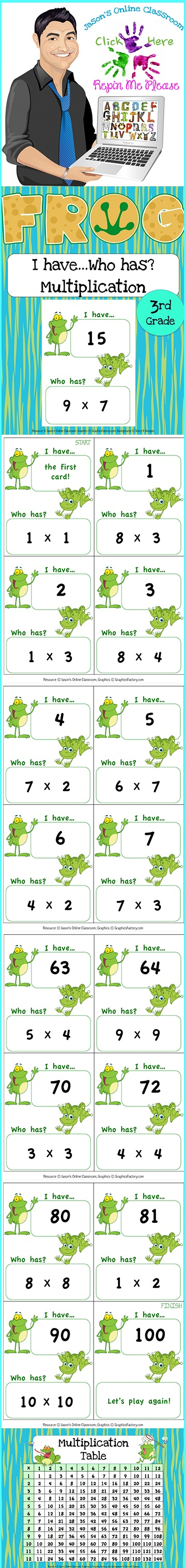$3 Common Core Aligned I have... Who has? Multiplication Game to help students learn how multiply within 100. Includes answer key and 43 game cards! Click the link below for more info about the images used to make this resource (Images © Graphics Factory) http://jasonsonlineclassroom.com./graphics-factory/