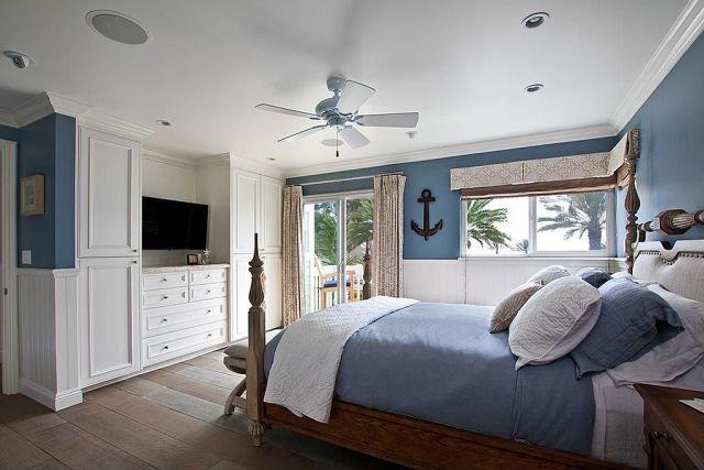blaugrau fürs Schlafzimmer wandfarben-schlafzimmer-nautisch-anker-wandmotiv-wandbordüren-blau-weiß - Wohnideen- Magazin für Innenarchitektur, Architektur, Dekoration
