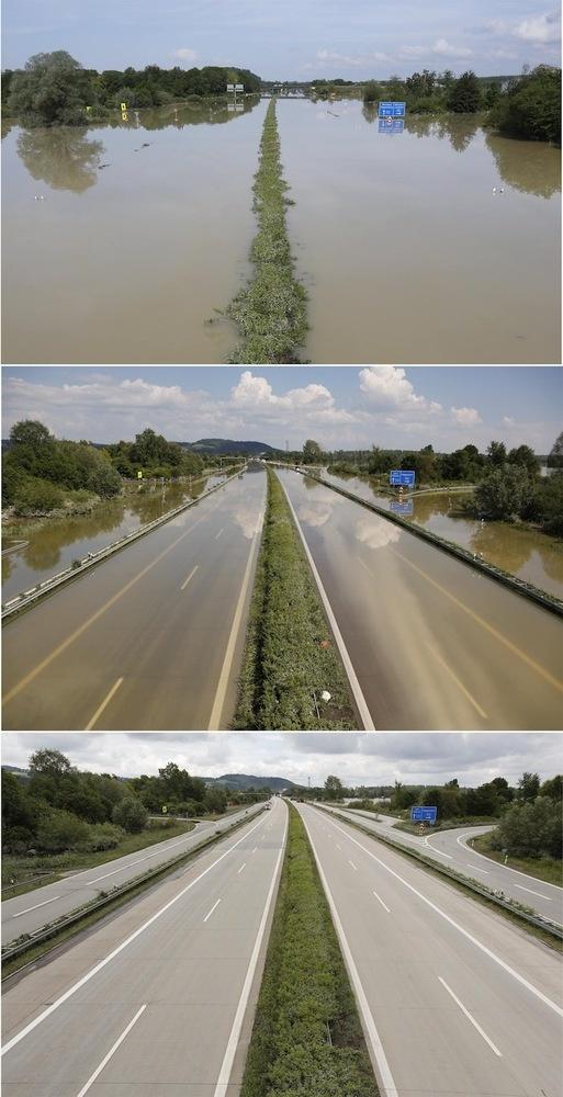Fotos de las inundaciones en Europa: Evolución de la inundación en una autopista en Deggendorf (Alemania) por la crecida del Danubio/ 13 de junio de 2013