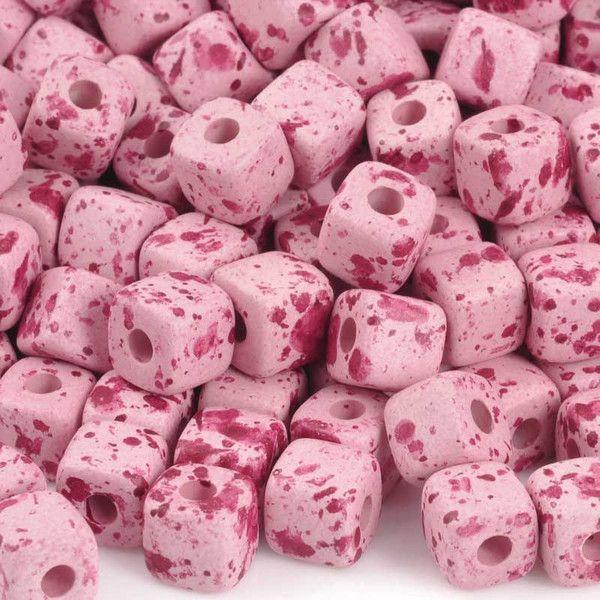 Ceramic Beads-7mm Cube-Bebe Smile-Quantity 20