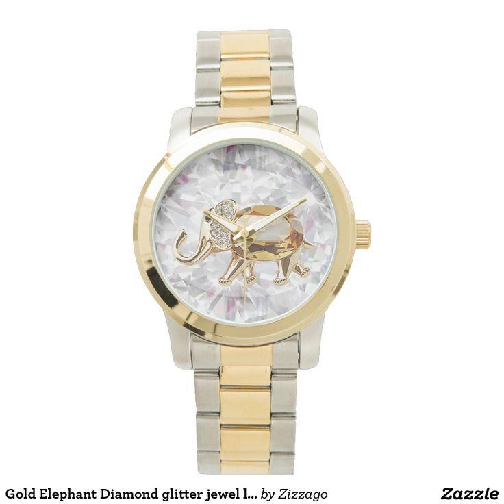 Gold Elephant Diamond glitter jewel look glam Watch