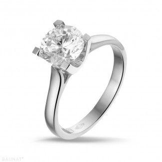 1.50 caraat diamanten solitaire ring in platina