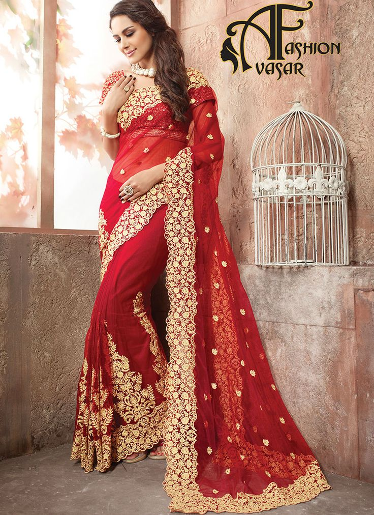 Red Net Saree With Golden Border.This Deep Scarlet Net Saree is including the gorgeous glamorous displaying the sense of cute and graceful. The ethnic