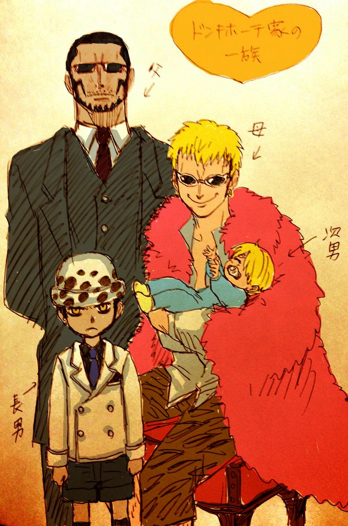 Donquixote Doflamingo, Vergo, Trafalgar Law and Sanji ...
