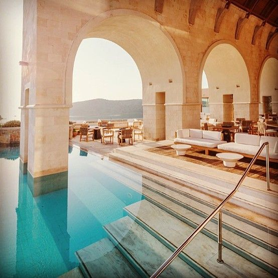 Poolside at the Blue Palace Hotel in Crete, #Greece: on our list of beautiful islands around the world.