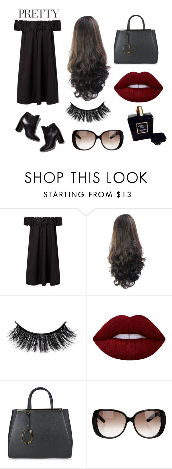 """""""Little black dress"""" by sarabarlaup on Polyvore featuring Pierre Hardy, Lime Crime, Fendi, Gucci and Chanel"""