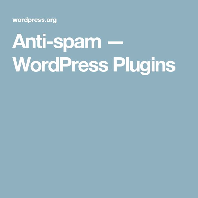 Anti-spam — WordPress Plugins