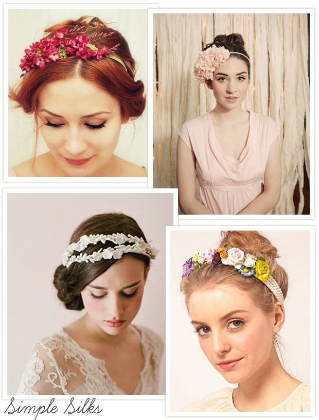 Floral-Crowns---Silk-Flowers - Read more on One Fab Day: http://onefabday.com/floral-hair-crowns/