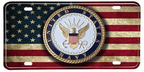 US Navy Emblem American Flag Aluminum License Plate