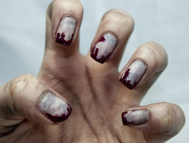 Zombie Nails by Samarium's Swatches (has basic how-to and nail polish names & colors used) - CREEPY but cool!