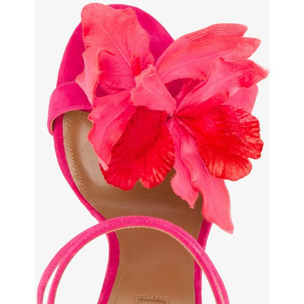 Aquazzura floral strappy sandals ($735) ❤ liked on Polyvore featuring shoes, sandals, high heel stilettos, strappy high heel sandals, flower sandals, floral sandals and ankle strap stilettos