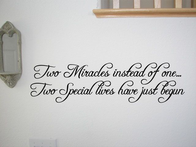 Twin Quotes For Wall Stickers | Twins Baby Room Wall Quote Decal Nursery Decor Kids Home Decor ...
