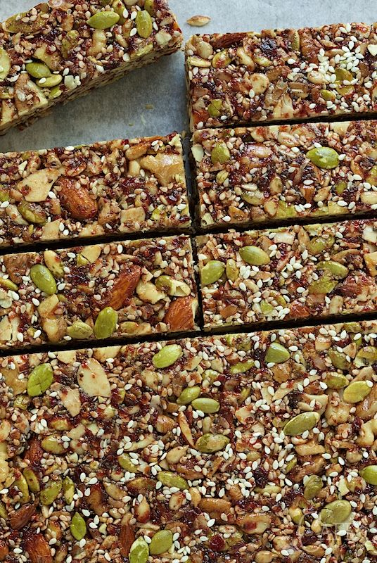 "Dried Cherry and Almond Energy Bars - not only incredibly healthy, these bars are crazy good. My son says they're ""better than Kind Bars!"""