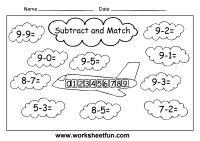 Single Digit Subtraction Worksheets