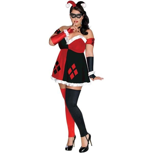 DC Comics - Super Villains Harley Quinn Plus Size Outfit ($50) ❤ liked on Polyvore featuring costumes, halloween costumes, party halloween costumes, sexy jester costume, superhero costumes, harley quinn costume and plus size halloween costumes