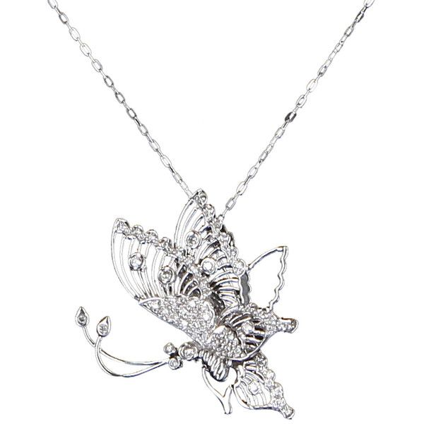 Pre-Owned Butterfly Diamond Necklace En Tremblant Vintage 18k White... ($795) ❤ liked on Polyvore featuring jewelry, necklaces, white gold, diamond butterfly necklace, diamond necklace, 14k white gold pendant, vintage necklaces and white gold chain necklace