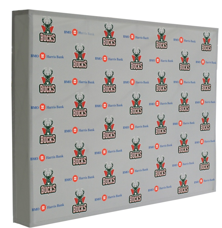 A step & repeat hop-up backdrop for the Milwaukee Bucks. Easy to ...