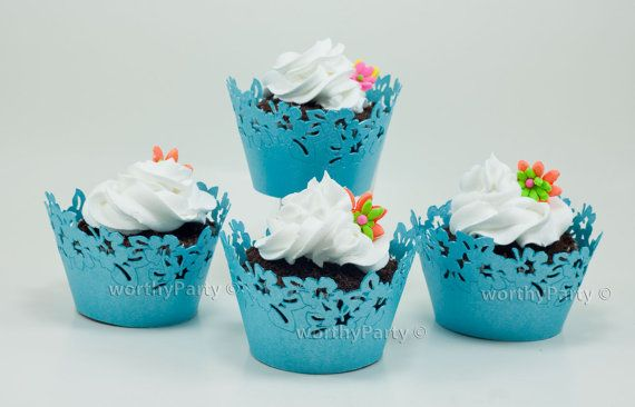 Sakura Floral Blue Turquoise - Malibu -  Elegant Laser Cut Lace Cupcake / Muffin  Wrappers - (set of 12) on Etsy, $6.95