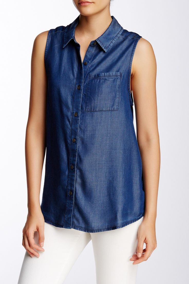 Sleeveless Chambray Blouse (Petite) by SUSINA on @nordstrom_rack