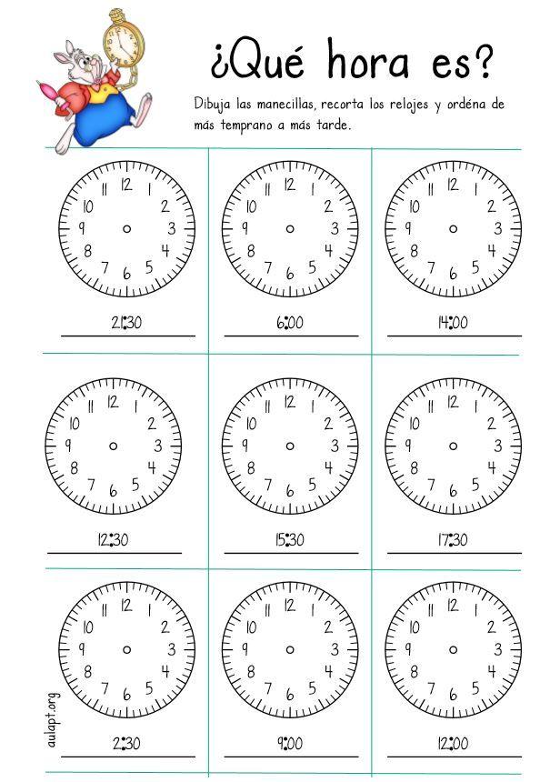 ¿Qué hora es? Dibuja, recorta y ordena. En punto e y medias. - Aula PT