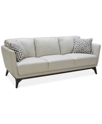 Kourtney Quilted Side Leather Sofa Deco Inspired Glamour